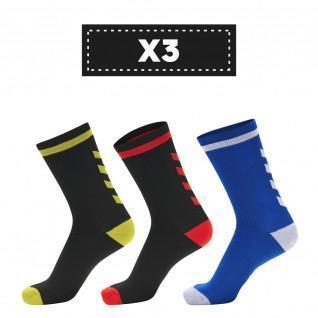 Set di 3 paia di calzini scuri Hummel Elite Indoor Low (scelta di colori)