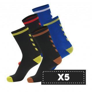 Set di 5 paia di calzini scuri Hummel Elite Indoor Low (scelta di colori)