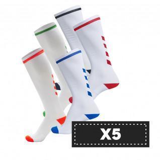Set di 5 paia di calzini alti Hummel Elite Indoor di colore chiaro (scelta di colori)