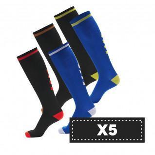 Set di 5 paia di calzini alti scuri Hummel Elite Indoor (scelta di colori)